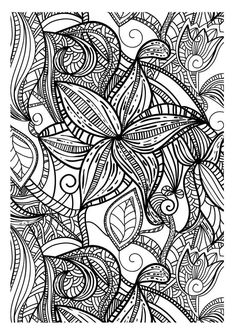 Drawing With Thick Lines Of Various Leaves Totally Free Like All The Contents In This Website Adult Coloring Page To Print And Color Find Pin