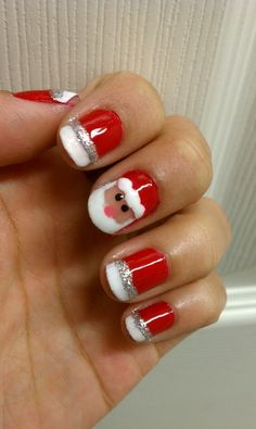 Cute version of a Red and White, Silver glitter french with Santa...