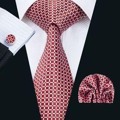 Wang Classic Men`s Tie Red Plaid Silk Tie Hanky Cufflink Set For Men Formal Wedding Party Groom Business Mode Masculine, Suit Fashion, Mens Fashion, Proper Attire, Cufflink Set, Suit Accessories, Wedding Ties, Formal Wedding, Tie And Pocket Square