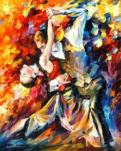 Tango In Paris - Palette Knife Oil Painting On Canvas By Leonid Afremov