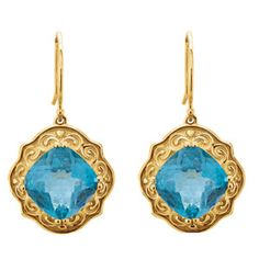 14k yellow Swiss Blue Topaz sculptural-inspired earrings, 10mm x 10mm. Find them at a jeweler near you: www.stuller.com/locateajeweler #CagedandPierced
