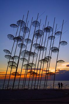 """Umbrellas"", a work of art by Giorgos Zoggolopoulos, that 's been permanently exposed on the promenade of Thessaloniki, since the year that this city was Cultural Capital of Europe. photo from Thessaloniki, Macedonia Land Art, Art Installations, Installation Art, Collage Kunst, Public Art, Photos, Pictures, Photographs, Belle Photo"
