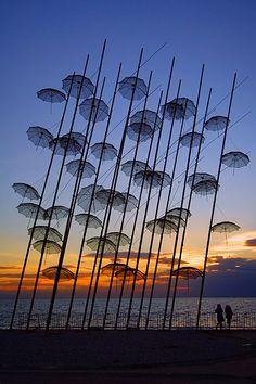 """Umbrellas"",  Giorgos Zoggolopoulos     on the promenade of Thessaloniki Greece  Photo by Cretense"