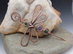 Dragonfly Sweater Pin Shawl Pin Brooch Hair Pin Green and Purple