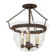 JVI Designs 1154 3 Light Small Bell Jar Semi Flush Mount with Star Glass