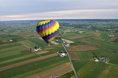 Lancaster County Hot Air Balloon Ride Explore the heart of Amish country in a Lancaster County Hot Air Balloon ride! Board your hot air balloon in Bird in Hand, and spend an hour taking in the rural sites of Intercourse, New Holland, Strasburg, Ephrata, and the Reading skyline.Become part of the scenery and take an amazing journey in a hot air balloon over beautiful Lancaster County. The experience begins before the flight! Arrive at the launch site and interact with the crew ...