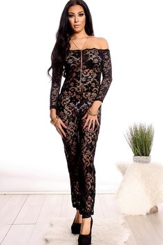 This jumpsuit features a black floral lace look, off the shoulder long sleeve, Great for any occasion, Bust measures about 11 inches, jumpsuit measures about 51 inches from top to bottom.  88% Polyester 12% Spandex  Model Info: Height: 5ft 8in | Waist: 25in | Hips: 36in | Chest: 32C Wear Size: Medium
