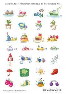 Welke van de vier plaatjes hoort er niet bij 2, kleuteridee.nl, free printable. Educational Activities, Toddler Activities, Block Play, Word Problems, Happy Kids, Speech Therapy, Games For Kids, Homeschool, Crafts For Kids