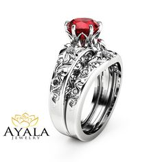 Hey, I found this really awesome Etsy listing at https://www.etsy.com/listing/275119140/natural-ruby-engagement-ring-set-wedding