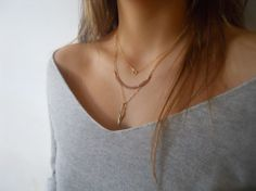 Triple Layered Gold Necklace Set - Tiny Ring Pendant, Crystal Beads, Feather Pendant