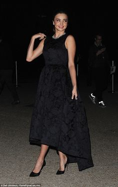 Miranda Kerr wearing Gianvito Rossi Court Pointed Toe Pumps in Black