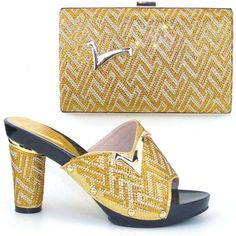60.00$  Buy here - http://alinpl.worldwells.pw/go.php?t=32760881918 - CP2017 gold nwe high heels shone and bag set with rhinestones 37-43