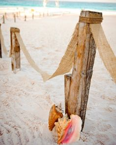 Tropical Touches~  Large seashells lean against driftwood poles lining the pathway to this real wedding's ceremony site.