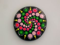 Mandala stones-hippie dot art-painted rocks-summer-spiral pink green-unique ooak… Más