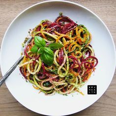 Getting ready for #summer with this #Spiralized Tri-color Spaghetti with Basil #Pesto. You can find this new #recipe on my website with the link in my profile.  #epjhealth #cookyourselfyoung #eatyourselfyoung #rawfood #vegan #glutenfree #paleo #feedfeed #feedfeedvegan #youthingfoods #detox #weightloss #healthyfoodshare #inspiralized #f52grams #notsaddesklunch #foods4thought #fitfood #lunch #zoodles #rawesome by epjhealth