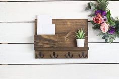 Medium Sized Mail Holder with Shelf and Key Hooks Handmade Signs, Handmade Items, Mail Sorter, Deep Shelves, Stocking Tree, Stocking Holders, Key Hooks, Golden Oak, Christmas Delivery