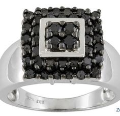 Curations NYC's 1.00 Carat Black Diamond Ring, Black Rhodium Tipped prongs. All in heavy Sterling.