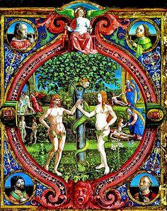 Seeking the Plan of God: Montessori and Original Sin Illuminated Manuscript, Medieval Manuscript, Religious Art, Religious Paintings, Garden Of Eden, Adam And Eve, Italian Artist, Ancient Aliens, Archetypes