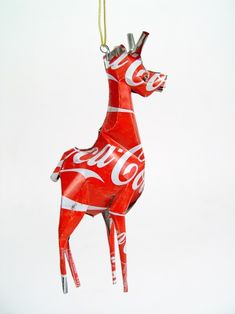 Giraffe Classic Coca Cola Ornament handmade from recycled Coke cans. $8