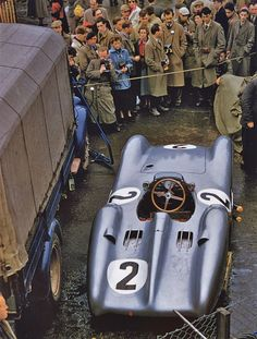 1954 British GP, Karl Kling's Mercedes Benz. This is a formula 1 car with a full body.