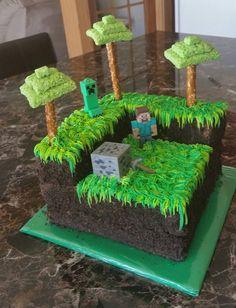 MineCraft Cake Drake's Birthday, 6th Birthday Parties, Birthday Cake Girls, Birthday Ideas, Minecraft Birthday Decorations, Minecraft Birthday Cake, Minecraft Torte, Pastel Minecraft, Kids Party Themes
