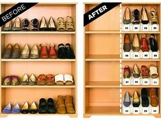 """A set of """"shoe slotz"""" that will literally double your shoe space. 
