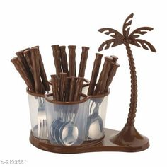 Cutlery Deluxe Cutlery Set with Coconut Tree Material : ABS Plastic & Stainless Steel Size :  Free Size Description :  It Has 24 Pieces Of Deluxe Cutlery Set with Coconut Tree Country of Origin: India Sizes Available: Free Size *Proof of Safe Delivery! Click to know on Safety Standards of Delivery Partners- https://ltl.sh/y_nZrAV3  Catalog Rating: ★4.3 (1186)  Catalog Name: Lovely Essential Cutlery Set Vol 1 CatalogID_291287 C135-SC1661 Code: 615-2192661-