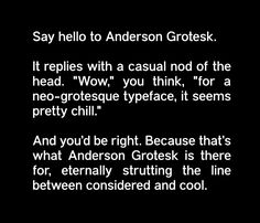 Anderson Grotesk designed and shared by Stephen French. Anderson Grotesk is a hand rendered Neo-Grotesk typeface. Sans Serif Fonts, Font Family, Cool Fonts, Say Hello, Free Design, Typography, Nice Fonts, Letterpress, The Print Shop