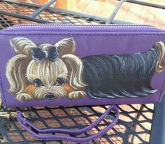 Handpainted Yorkie Purple Zip Around Wallet Purse Dog Art Clutch       #Collectible