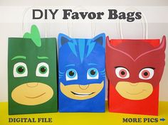 ***This Listing is for a DIGITAL/ PRINTABLE File*** Please look at Picture#2 of this Listing to see whats included with this purchase Make your own PJ Masks Party Favor Bags with this easy printable templates!! Youll get two printable options included with this order (as shown on