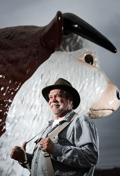 "A lot of bull? Steve Newsom steps forward as owner of the original ""Staley's Bull."" The mascot installed Thursday at Fratellis steakhouse was made by same company 