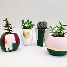 Our hand painted ceramic planters have an extremely matt, velvety finish, complemented with hints of gold leaf. Painted Plant Pots, Ceramic Plant Pots, Painted Flower Pots, Pottery Painting, Ceramic Painting, Christmas Pops, Flower Pot Crafts, Cement Crafts, Hand Painted Ceramics