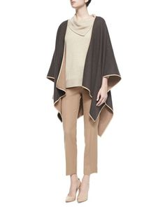 Two-Tone Reversible Wool Cape, Split Cowl-Neck Cashmere Sweater & Cashmere Straight-Leg Ankle Pants by Max Mara at Bergdorf Goodman.