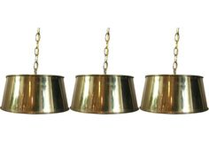 Brass Pendant Lights, S/3