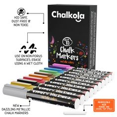 Metallic Chalk Markers with Reversible Nib - Pack of 10 – Chalkola Art Supply Chalk Fonts, Chalk Lettering, Metallic Colors, Neon Colors, Chalk Markers, Pen And Watercolor, New Hobbies, Diy Craft Projects, Smudging