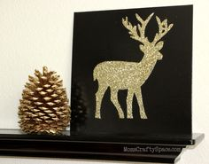 Glitter Deer Silhouette Holiday Canvas via Mom's Crafty Space