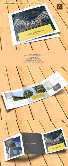 Square Trifold Design Template | Architecture Brochure - Brochures Design Print Template. Download here: https://graphicriver.net/item/square-trifold-architecture-brochure/19321079?ref=yinkira