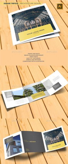 Square Trifold Design Template | Architecture Brochure - Brochures Design Print Template. Download here: https://graphicriver.net/item/square-trifold-architecture-brochure/19321079?ref=yinkira