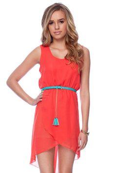 i love it. Belted Chiffon Hi-Low Dress