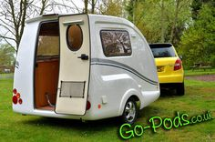 go pods going ii cockpit s caravan 2 berth micro tourer Tiny Trailers, Small Trailer, Vintage Trailers, Camping Trailers, Caravan Uk, Teardrop Caravan, Teardrop Campers, Tiny Camper, Cool Campers