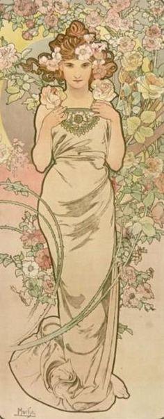 Art Nouveau by  Alphonse Mucha, he was a Czech Art Nouveau painter and decorative artist.