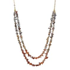 Wholesale gold necklace double layered gray natural orange chipstone