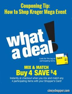 We have a new Couponing Tip: How to Shop Kroger Mega Event. If you haven't shopped a Kroger Mega Event, you are missing out on some amazing savings! The Kroger Mega Event is the perfect time to really get your pantry and freezer stocked-up with great items at amazingly low prices! Shopping the event is not difficult. Here are some tips and words of advice that will ensure you are getting the most bang for your buck.
