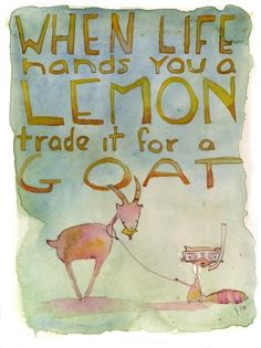 When Life Hands you a Lemon greeting card by echarrow on Etsy-  #babygoatfarm