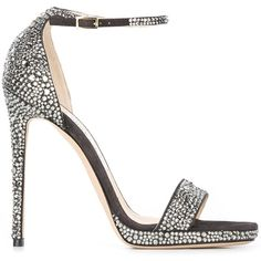 Jimmy Choo 'Kaylee' sandals ($1,795) ❤ liked on Polyvore featuring shoes, sandals, heels, jimmy choo, grey, leather ankle strap sandals, stiletto sandals, ankle tie sandals, grey sandals and open toe sandals