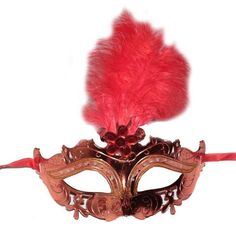 İşlemeli Kırmızı Renk Tüylü Balo Maskesi