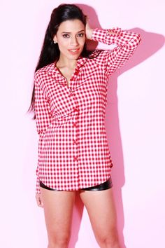 #1015store.com #fashion #style Red Checker Long Sleeve Tunic Blouse -$15.00