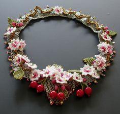 OOAK Sakura   Japanese flowering cherry Blossom Beadwork Necklace, Isabella lam