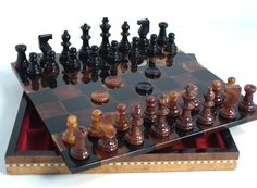 13.5 Alabaster Chest Chiellini Chess Set Black & Brown  browse our site for popular family board games and outdoor games. www.thegamesupply.com #boardgames #familyboardgames