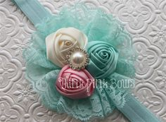 Satin Rolled Rosette Headband in Aqua, Baby Pink and White Girl Hair Bows, Baby Girl Headbands, Baby Bows, Rosette Headband, Diy Headband, Hair Ribbons, Ribbon Bows, Fabric Flower Tutorial, Fabric Flowers